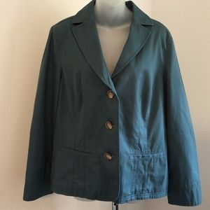L.L Bean Casual 3 Button Teal Lined Blazer